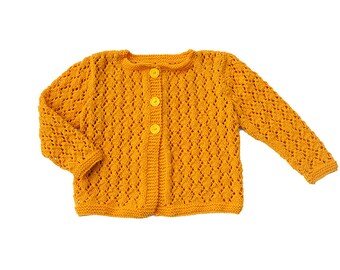 Girls Sweater, yellow mustard / mango Knitted cardigan, wool jacket, lace, toddler / baby, sizes - 0-3-6-9-12-18-24 months, 2T, 3T, 4T, 5, 6