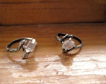 Raw Herkimer diamond Crystal Quartz double terminated Twig Ring Sterling Silver handmade bohemian size 2 3 4 5 6 7 8 9 10 unusual oddity