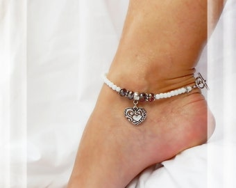 Heart of My Heart Anklet Purple Crystal Silver Ankle Bracelet Bridal Jewelry for Garter Ceremony