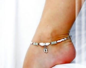 Beachy Feet Foot Charm Anklet Beach Anklet Sea Glass Green White Shell Silver Ankle Bracelet