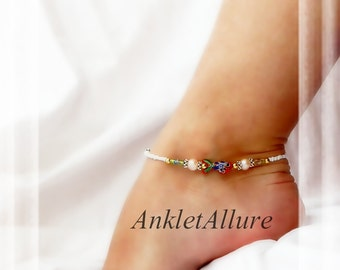Beach Anklet Red Coy Cloisonne Anklet Fish Anklet Pearl Ankle Bracelet Cruise Vacation Ankle Bracelet