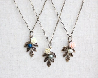 Bridesmaids Necklace Pearl Acorn Pendant Country Chic Wedding Jewelry Antique Gold Brass Leaf Rustic Woodland Charm Necklace Gift of Women