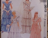 McCalls 3573 Wedding or Prom Gown with Ruffled Neckline Vintage Sewing Pattern Sz 8-12