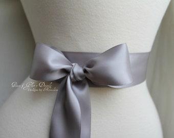 Silver Grey Sash Belt - Double Faced Satin Ribbon Sash - Bridal Bridesmaids Flower girl Sashes - Many Colors
