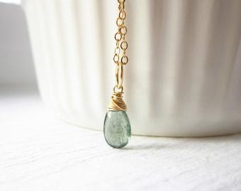 S - Green Moss Aquamarine Charms - Aquamarine Jewelry - 14k Gold Charms - March Birthstone Jewelry - Aquamarine Birthstone Charms
