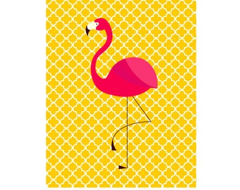 Nursery Art Flamingo Nautical Beach Ocean Miami