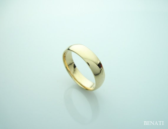 18k Rose Gold Court Wedding Band - For Him Or Her, Modern Gold Band ...