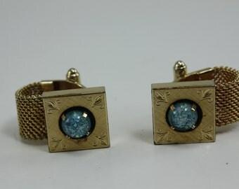 Vintage Anson Cufflinks Opal Aqua Stone Mesh Diamond Cut
