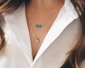 Layering Necklaces Set of 3 - Sterling Silver or 14k Gold Fill, Petite Turquoise Tube Bead, Satellite Chain, Minimalist Geometric Jewelry