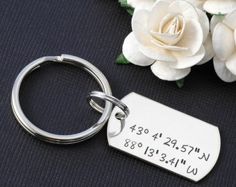 Coordinates Dog Tag - Sterling Silver - Personalized Key Chain - DOUBLE SIDED