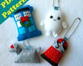PDF PATTERN -  Dr. Who Keychain/Ornament Plush Set (Digital Download)