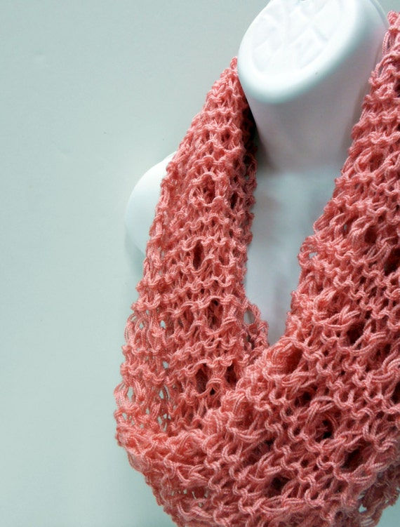 Peach Circle Scarf, Knit Capelet, Lightweight Scarves, Lacy Infinity Loop