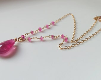 Rubellite Tourmaline and Sapphire Gemstone Necklace Wire Wrapped with 14kt Gold Fill Handmade Jewelry