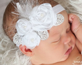 Ivory headband, Baby Headband,Newborn Headband,baby headbands,feather headband,Ivory feather baby headband,Infant headband.Baby Hair Bows.