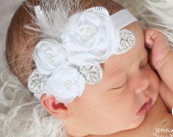 Ivory headband, Baby Headband,Newborn Headband,baby headbands,feather headband,Ivory feather baby headband,Infant headband.Baby Hair Bows.