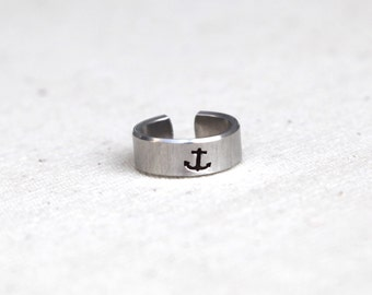 Knuckle Ring, Mid Finger Ring, Midi Ring, Anchor Ring - Anchor Jewelry - Nautical Ring - Sailor Ring - Sailor Jewelry - Nautical Jewelry