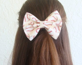 Baseball Hair Bow Hair Clip Teen Woman Alligator Clip, French Barrette