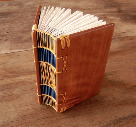cherry journal - rustic handmade blank wood book  unique woodland nature lover natural garden yellow blue  forest / ready to ship