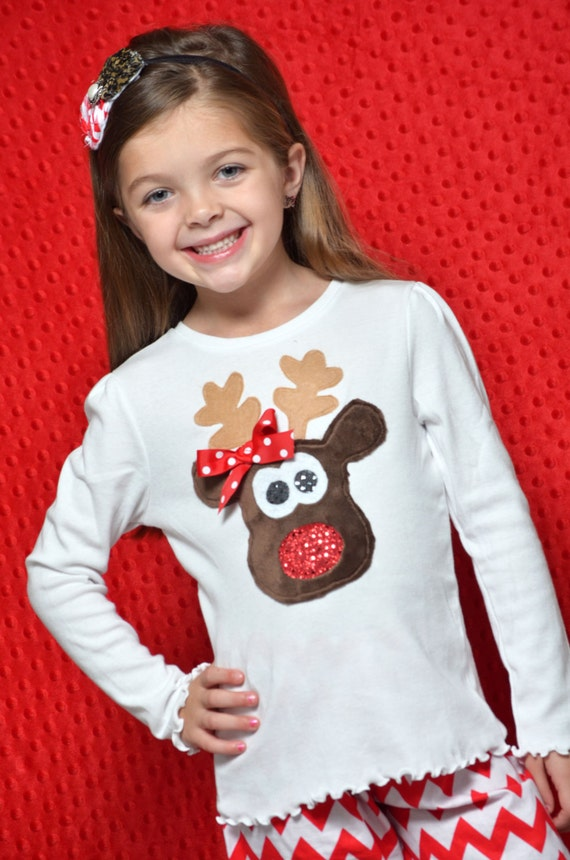 Girl Reindeer Applique Reindeer Applique t Shirt