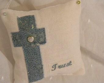 Vintage Linen Sachet- Trust Cross in Teal