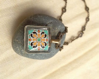 Pink & Turquoise Spanish Tile, Catalina Island, Mexican and Mediterranean Tile Inspired Glass and Antique Brass Necklace 1013