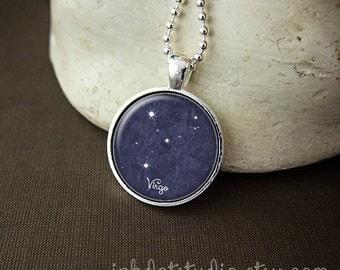 Virgo Constellation Necklace, Virgo Constellation Pendant, Virgo Zodiac Sign, Virgo Jewelry, Virgo Necklace, Zodiac Necklace