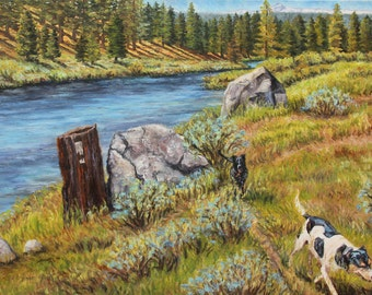 Truckee River Dogs, original oil on canvas