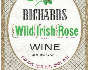 Richard's Wild Irish Rose Vintage Wine Label, 1940s