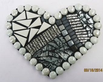 CUSTOM MOSAIC HEART in Silver, White and Grey w/ White Glass Gems, Silver Van Gogh Glass & Mirrored Glass / One-of-a-Kind