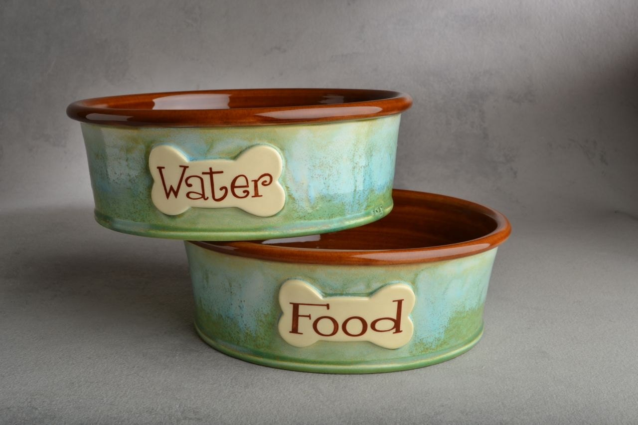 Dog Bowl Set Made To Order Personalized Smooth Dog Bowls by - photo#33