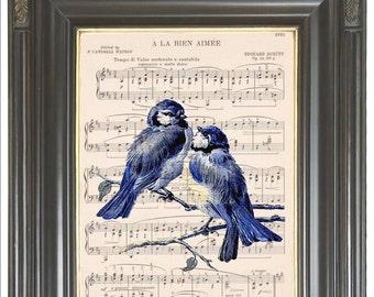 Vintage blue bird pair print SALE on Dictionary art print Sheet music print Digital art print, bluebird print Wall art print decor No.376