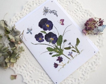 Pansy Card, Pansies with Butterflies and bee, Purple Pansies in a Garden, Blank Greeting Card
