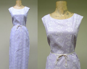 Vintage 1950s Wiggle Dress / 50s Floral Cotton Day Dress NWOT / Small - Medium