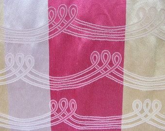 """Vintage 1940s Rayon Curtain Panel / 40s Striped Damask Drapery Fabric / 57"""" L x 40"""" W"""