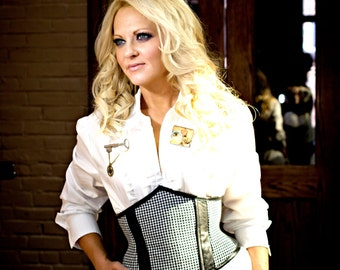 Limited Edition Lambskin and Houndstooth Steampunk Equestrian Cincher