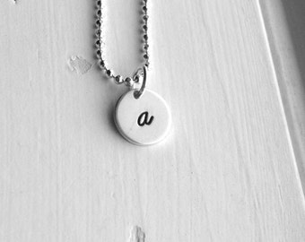 Letter a Necklace, Sterling Silver Initial Necklace, Hand Stamped Necklace, Monogram Necklace, Sterling Silver Jewelry, Letter a Jewelry