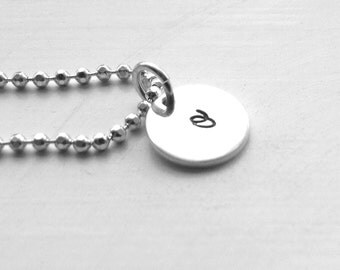 Initial Necklace, Letter o Necklace, All Letters Available, Sterling Silver Jewelry, Hand Stamped Jewelry, Small o Necklace, Initials, o
