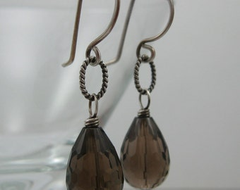 Brown Smokey Quartz Sterling Silver Earrings