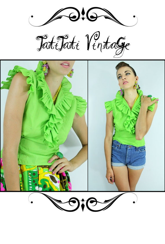 Vintage 60s LIME Neon Green RUFFLED Blouse // Vintage Clothes by TatiTati Vintage on Etsy