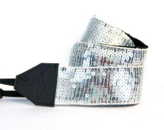 slr Camera Strap - Silver Shine