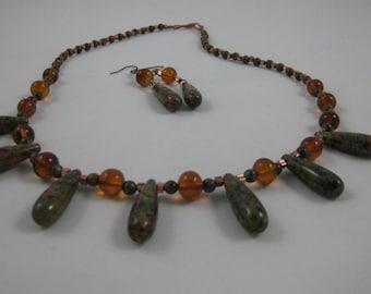 Unakite, Copper, Amber, handmade Necklace, natural stone