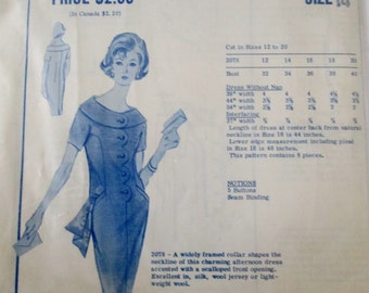 Modes Royale 2078 Womens 60s Widely Framed Collar Dress Sewing Pattern and Label. Size 14, Bust 34