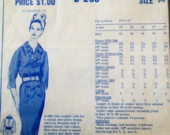 Modes Royale D-265 Womens 60s Slim Line One Piece Dress Sewing Pattern Bust 34