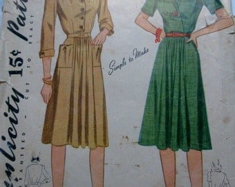 Simplicity 4081 Womens 40s Button Front Dress Sewing Pattern