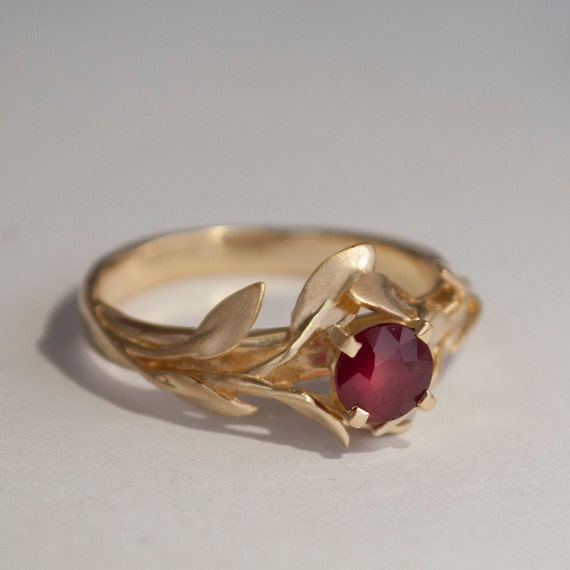 Leaves Engagement Ring No 4 14k Gold And Ruby By Doronmerav