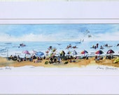 Beach Party print of watercolor by Mary Blocksma 10x20 Mat
