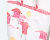 Linen Beach Bag - White Beach Bag - Pink Beach Bag - Cabana - White and Pink - Summer Purse - Small Tote
