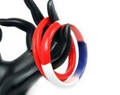 Patriotic Striped Lucite Bangle with 2 Red Spacers - 1960s Best Plastics