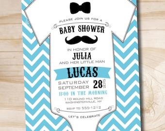 Mustache Baby Shower Invitation - Printable Digital file or Printed Invitations