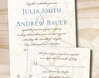 ANTIQUE COMPASS Wedding Invitation/Response Card - 100 Professionally Printed Invitations & Response Cards